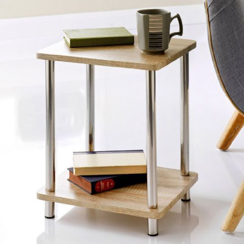 Small Low Oak Effect Sofa Chair Side Table